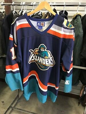 0d9924e12 MENS LARGE - Vtg 90s NHL New York Islanders Fisherman Starter Sewn On Jersey