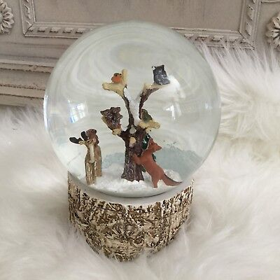 Woodland Animals In A Tree Musical Snow Globe Dome Gisela Graham Christmas