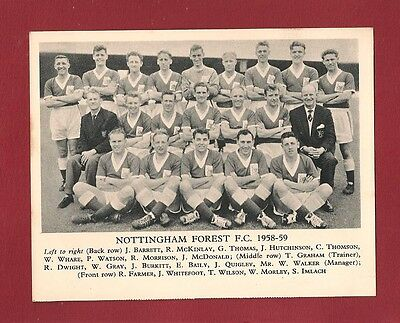 NOTTINGHAM FOREST FC 1958/9 Team Photo The Tricky Trees PLAYERS NAMED Manager