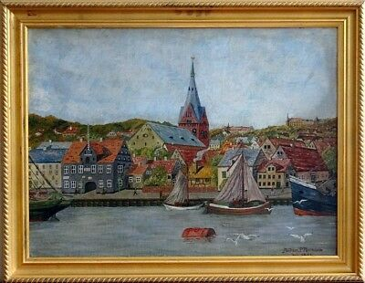 Rare ca.1931 Boats Harbor Northern Europe Seascape Town Painting Oil/Board/Frame