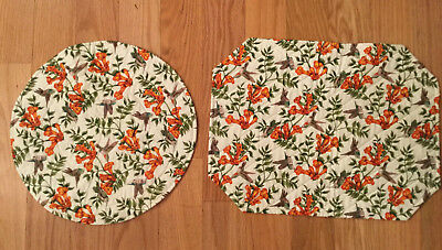 Hot pads with humming birds and trumpet flowers, 1round &1 rectangular, handmade