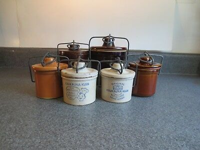 Vintage Ceramic Crocks with Wire Bail Lids Lot of Six