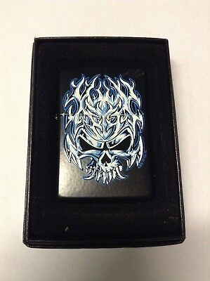 Zippo Blue Skull Fire Design - Windproof With Box And Sticker Seal