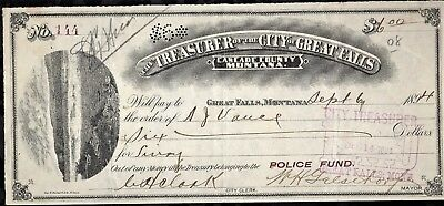 1894 Great Falls Montana Police Fund Check 100% Authentic Cascade Co #144