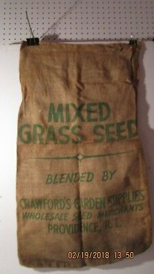 Vintage Crawfords Mixed grass seed burlap bag Providence R.I.