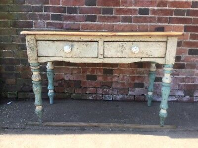 Early Victorian Antique Scrub Top 2 Drawer Pine Table With Original Paint Work
