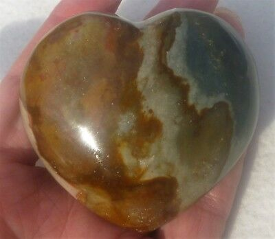 170.2 Gram  LARGE Polished Desert POLYCHROME JASPER Heart from Madagascar