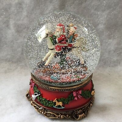 Large Self Propelling Glass Snow Globe Gisela Graham Musical Father Christmas