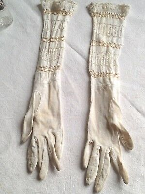 Vintage girls long elbow mitts lace gloves Period Costume Drama / Child SMALL