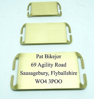 Slide on Dog Tag ID  for working dogs, agility , solid brass - free engraved