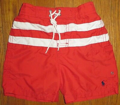 Ralph Lauren Polo boys 4T red and white striped board shorts~navy pony~CUTE & EU