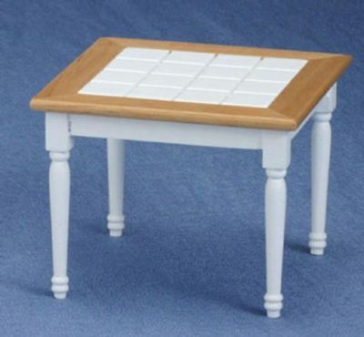 Dollhouse Miniature 1:12 Scale Square Tiled Table in Oak and White