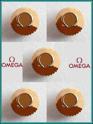 5 (five) Original OMEGA Watch Crowns GOLD PLATED - N.O.S. - 4.10 mm - STEM: 0.90