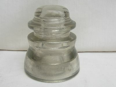 Vintage Whitall Tatum Co. No 1 Glass Insulator Made In USA Embossed 32-42 Clear