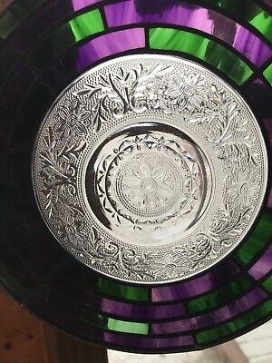 Estate Green & Purple Segmented Stained Glass with Pressed Glass Bowl in Center