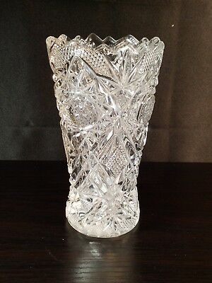 Vintage Antique Crystal Vase With Etched Trees Signed Dated