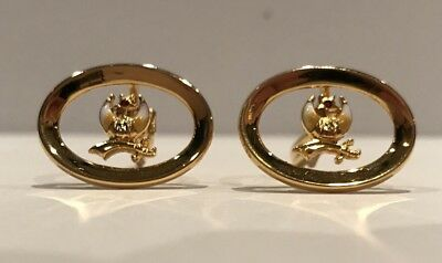 Awesome Vintage Shriners Gold Plated Masonic Cuff Links