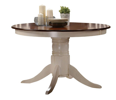 """Country Cottage Dining Table Round Pedestal Base Solid Wood Oak Cream 42"""" New"""