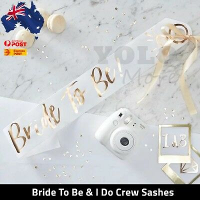I do Crew Hens Party Bridal Shower Bride Sash Bride Sashes Bachelorette AUS