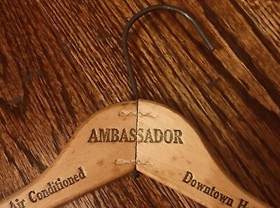 Vintage Wooden Coat Hanger Ambassador Hotel Washington DC Advertising Hi Hat