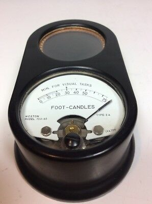 Vtg Weston Model 703-60 TYPE 3-A 194708 Foot-Candles Meter For Visual Tasks 0-75