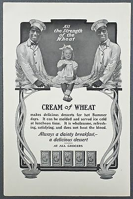 1904 CREAM of WHEAT Cereal Ad- Chef Rastus- Black Americana- Curly Blond Girl