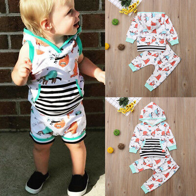 Newborn Baby Boy Girl Cotton Hooded Tops Long Pants Leggings Outfits Clothes xia