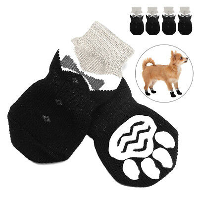 4pcs Non Slip Dog Socks Black Dog Paws Protective Indoor Knitted Warm Booties