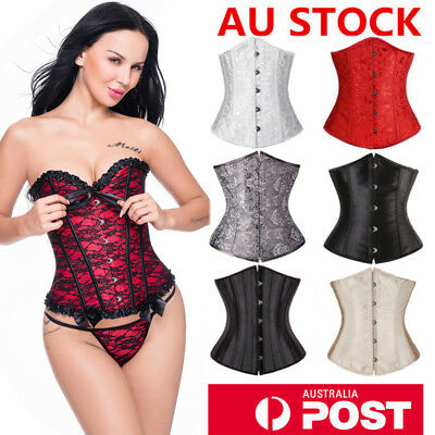 Women Underbust Corset Waist Cincher Body shaper Steel Busk Boned Lace S-6XL AU