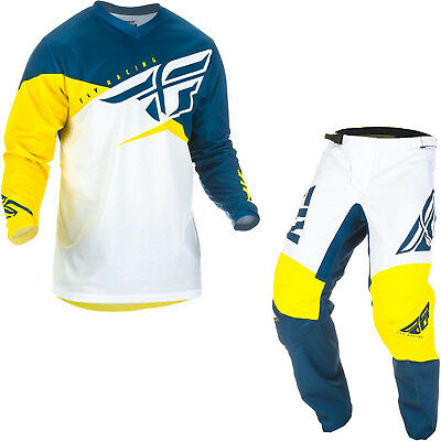 Fly Racing 2019 F-16 MX Jersey & Pants Yellow White Navy Kit Motocross Off Road