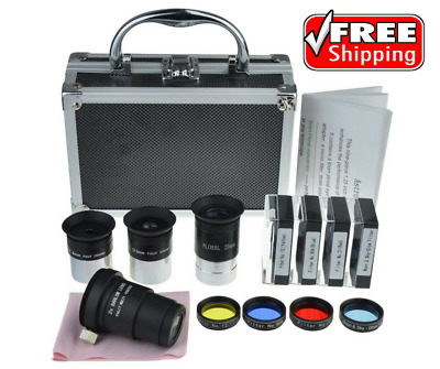 "1.25"" Telescope Accessory Kit PLOSSL Eyepieces+Barlow Lens+Colour & Moon Filters"
