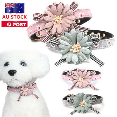 AU Dog Cat Puppy Adjustable Leather Flower Necklace Bow Tie Collar Neckerchief