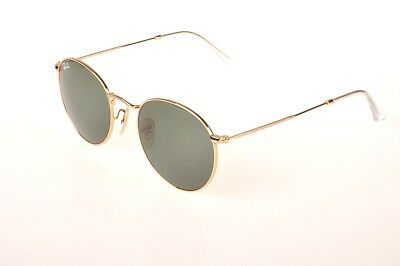a94b58d445 NEW RAY-BAN SUNGLASSES Round RB 3447 001 50mm G-15 Green Lens Gold ...