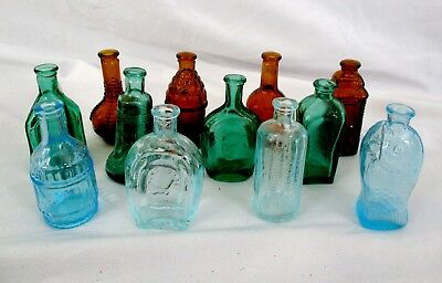"SET 12 NEW MINI MINIATURE 3"" BOTTLES TAIWAN Amber Green Blue BITTERS FISH BELL"