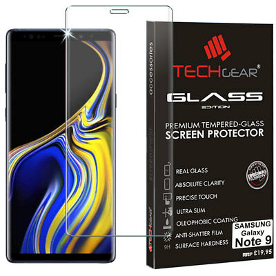 Clear TECHGEAR TEMPERED GLASS FULL Cover Screen Protector Samsung Galaxy Note 9