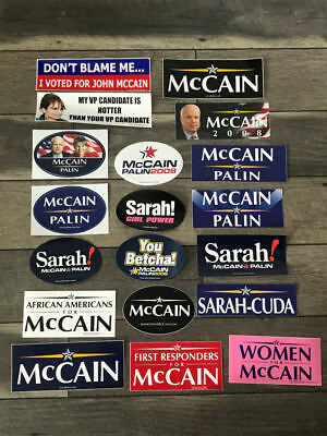 Lot Collection of 19 John McCain Sarah Palin For President Bumper Stickers 2008