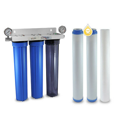 "3 Stage 20"" Whole House Water Filter Softening Softener System With Ball Valve G"