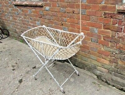 Victorian folding Iron,painted bassinet cot C1890