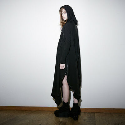 punk rave Steampunk Black Mysterious Witch Gown Gothic Stretch Hoody Loose Coats
