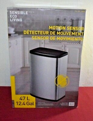Eko Phantom Motion Sensor Touchless Stainless Steel Trash Can 50 Liter