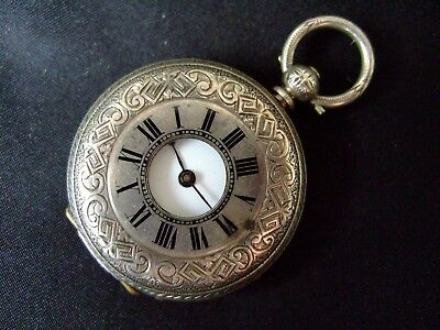 Antique Pure Fine Sterling Silver Half Hunter Pocket Watch - Working