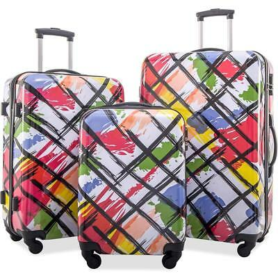 Merax Printing Luggage Set ABS + PC 3 Piece Spinner Travel Suitcase Set w lock