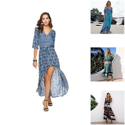 Small Blue Spring Summer African Vintage Long Dresses For Women Girls Cheap