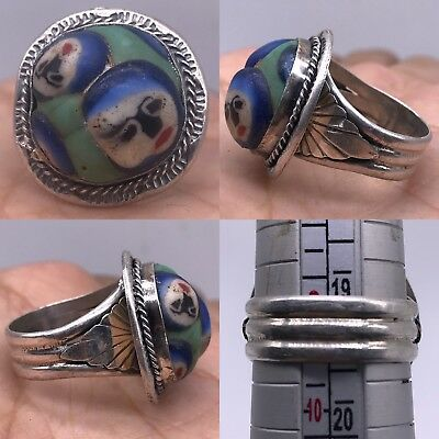 Medieval Silver Antique Glass faces Silver Lovely Ring