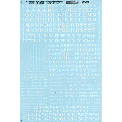 Microscale 90001 HO-Scale Decals Letters & Numbers, Roman/White