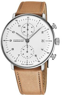 Junghans Men's MaxBill Chronoscope Leather Strap Self-Winding Watch 027/4502.00