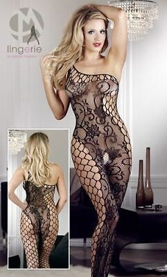 Mandy Mystery lingerie Catsuit ouvert schwarz S L Overall Anzug Body Bekleidung
