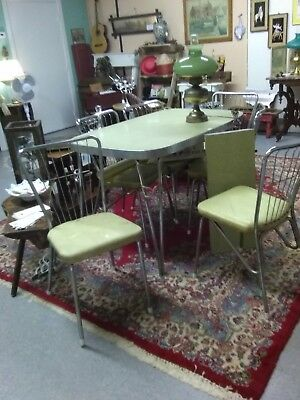 Vintage 1950 Retro yellow/Grey Formica Chrome  Kitchen Table, 6 Chairs & Leaf