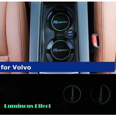 Green VOLVO R DESIGN CUP HOLDER ANTI-SLIP MAT CAR BADGE V90 V40 C30 V60 76mm