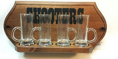 Vintage 4 Tall Shooter Glasses and Wooden Rack Bar Mancave NEW
